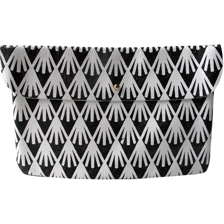 Handprinted Leather Clutch: Handprinted Leather, Shops, Wright Clutches, Black Haystacks, Leather Clutch, White Leather, Accessories, Bags