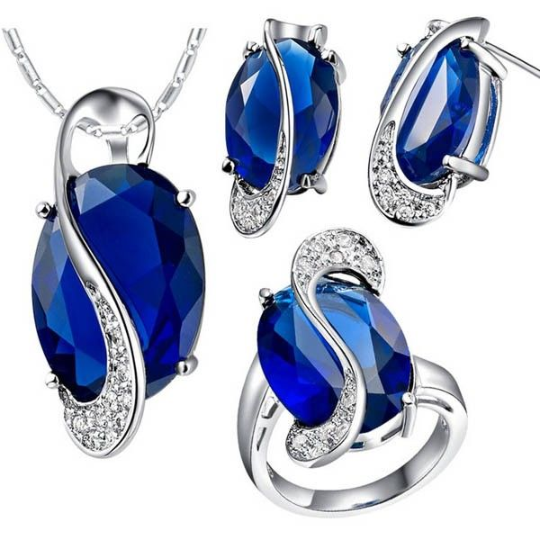 This item is 3-piece Jewelry Set Fashion Gem Necklace Pendant + Earring + Ring. According to your own personal preferences, you can match it with beautiful clothes in different seasons. The following occasions, anniversary, engagement, party, wedding, etc. are propitious to wear it.
