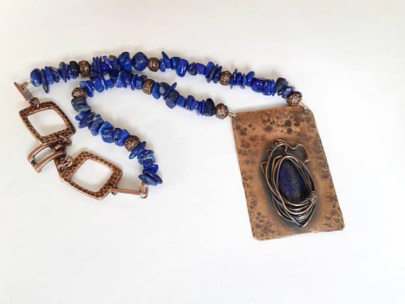 lapis lazuli necklace lapis lazuli choker copper pendant