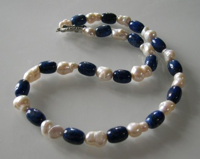 NATURAL BAROQUE PEARL AND LAPIS NECKLACE 54cms  NATURAL PEARL AND LAPIZ LAZULI  NECKLACE FROM GEMROCKAUCTIONS.COM
