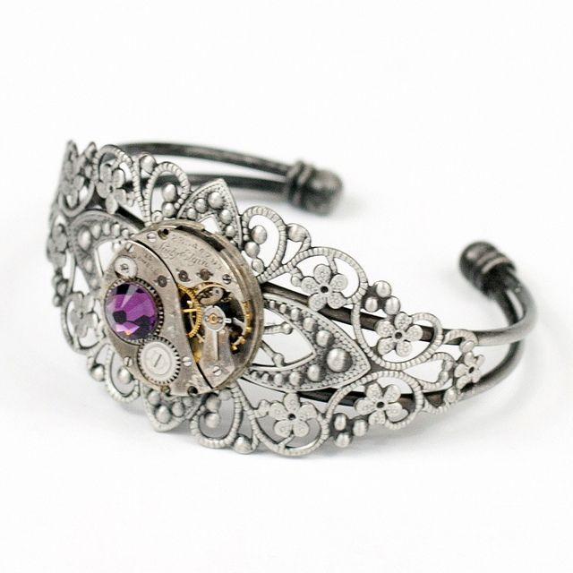 steampunk charms | Velvet Mechanism Steampunk Jewelry - cuff-silver-filigree-elgin-plum ...