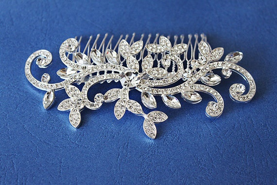 Couture Rhinestone Silver Plated Swirl Bridal Hair by annapanik, $25.00