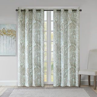 Madison Park Dermot Blue Cotton Printed Paisley Curtain Panel | Overstock.com Shopping - The Best Deals on Curtains