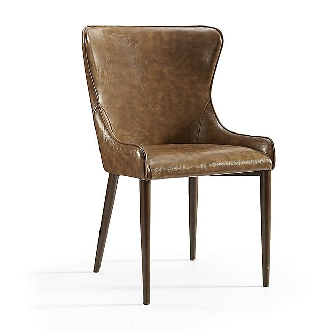 chaise imitation cuir vieilli marron