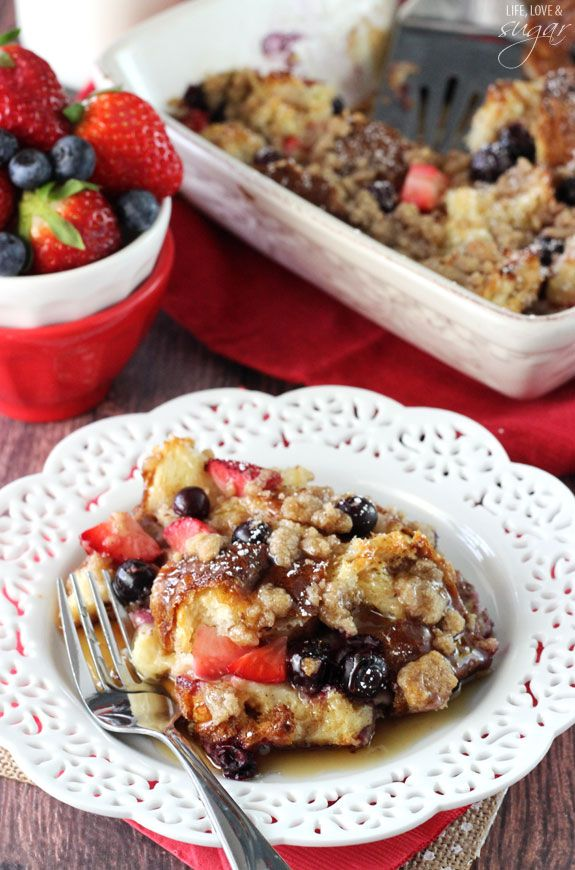 Strawberry and Blueberry French Toast Casserole - the perfect breakfast for Easter morning! Love this recipe from Life, Love and Sugar.