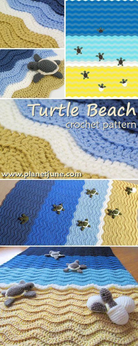 free Turtle Beach blanket crochet pattern by PlanetJune (turtle pattern sold separately) #crochetblankets