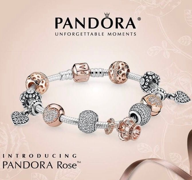 bijoux pandora or rose