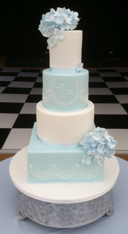 Blue Hydrangea And Lace Cake Wedding Cake Design Idea