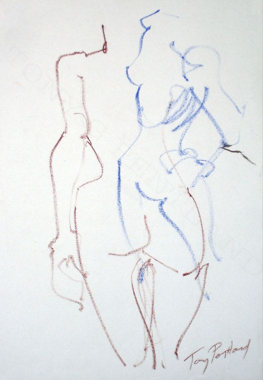 Tony G Pentland 2 x 30 second Life drawings Oil pastel on cartridge paper