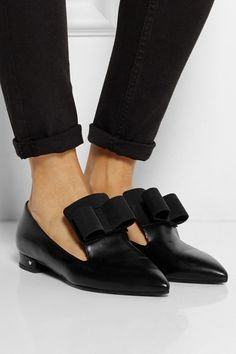 LAURENCE DACADE Gertrude bow-embellished leather point-toe flats