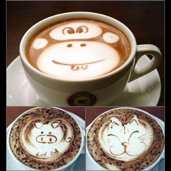 Coolest looking lattes ever!: Cat, Latte Art, Animal Faces, Cups Of Memorial, Pigs, Coffee Art, Monkey, Memorial Art, Latteart