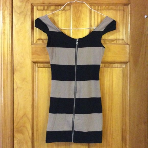 Black and Tan striped body con dress Zipper down the front, tight and short. Only worn a few times, great condition. H&M Dresses
