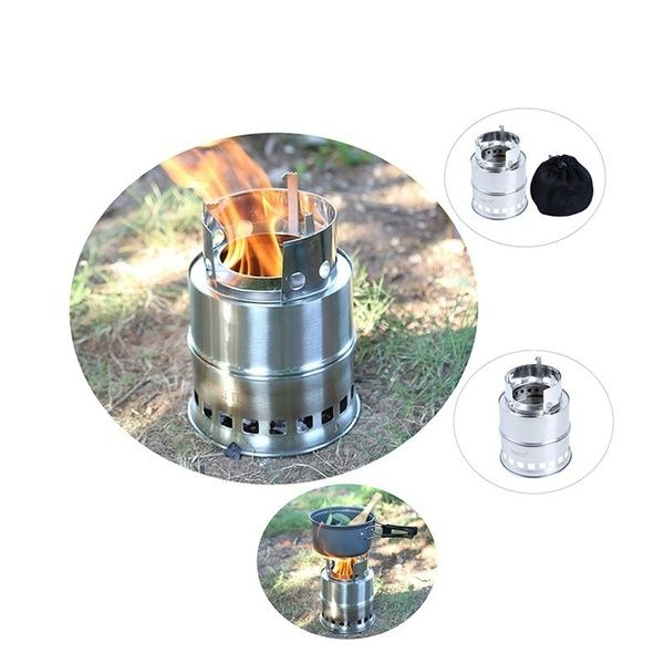 Outdoor Wood Gas Wood Burning Stove Portable Folding Firewood Stove Camping Gasification Furnace In 2020 Camping Stove Survival Gadgets Bbq Party