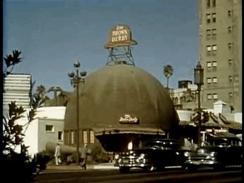 The original and infamous Brown Derby restaurant. | Vintage Los Angeles In 14 Mesmerizing GIFs