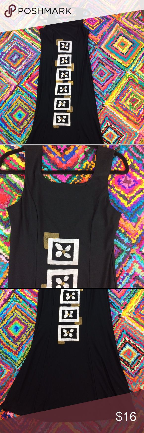MAKE YOUR DAY KIMBER EASTWOOD Size Large Dress MAKE YOUR DAY KIMBER EASTWOOD Tank dress.  Size Large.  Screen-print flowers and squares in silver and gold on a black. Slight cowl on back of dress. Full length. Make your day Dresses