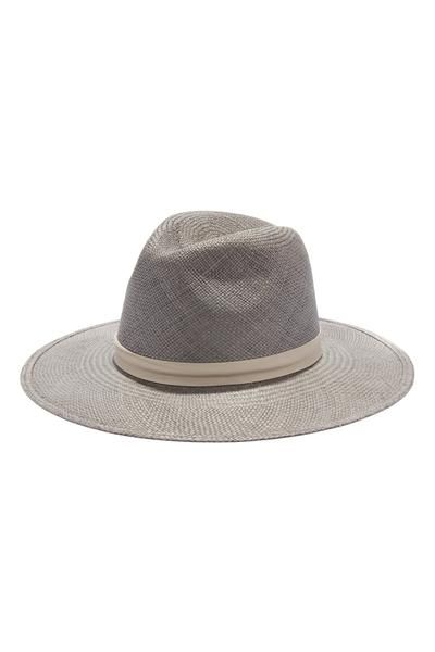 "Janessa Leone ""Bailey"" hat Elephant Grey Hand Woven Panama Straw 7/8"" Bone Bary Lambskin Leather Band Silver Screw Closure Made in the USA"