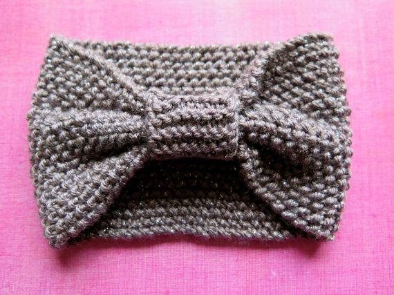Hand knitted ladies headband  Sparkling grey by MadeGinieLaine