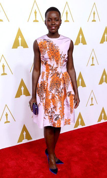 Lupita Nyong'o, espectacular en Christian Dior durante el almuerzo de los nominados al Oscar 2014