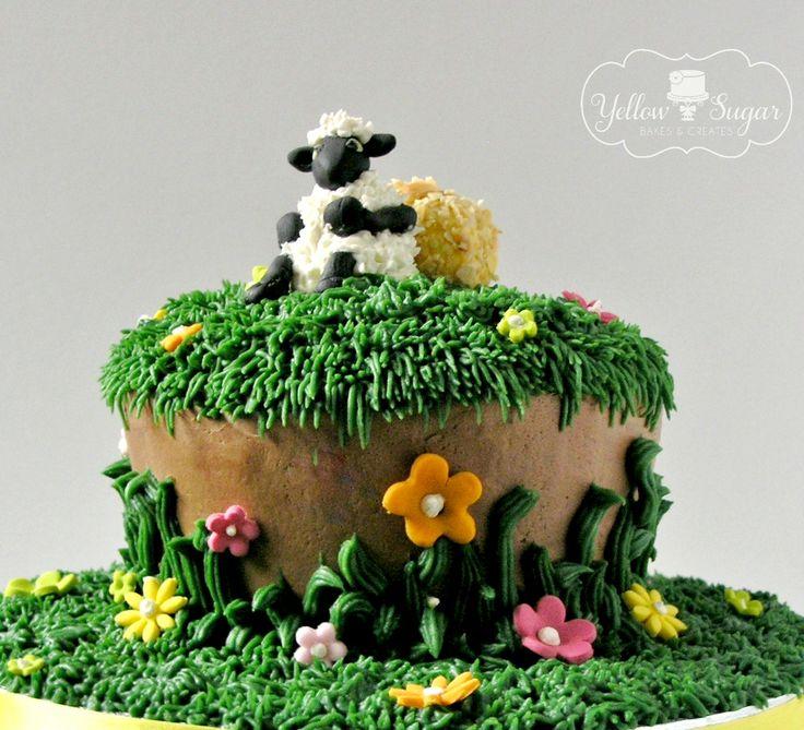 Sheep on a hill birthday cake