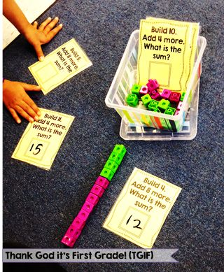 My Favorite FREE 1st grade math centers! Addition Build it, Connect Four, Recycle It for place value and more! From TGIF (Thank God It's First)