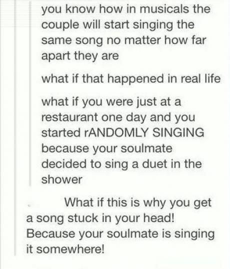 """If that is true than my soulmate is constantly singing """"my milkshakes bring all the boys to the yard"""""""