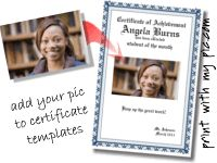 print a certificate with your own picture