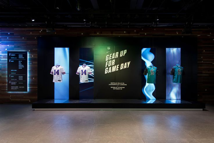 NIKE NFL   Retail Interior & Window Display at NikeTown, London, November 2015 by Millington Associates. See more here: http://www.millingtonassociates.com/project/nike-nfl-2015/ #retaildisplay #millingtonassociates #nike #windowdisplays #retailinterior