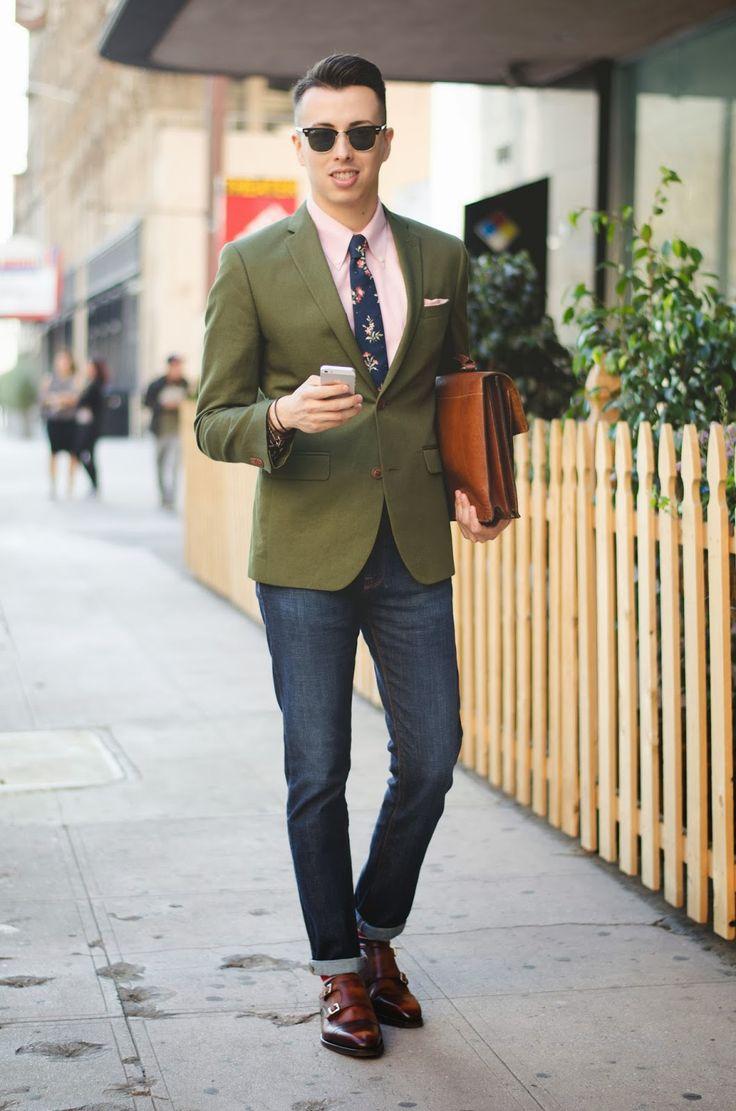 Men\u0027s Dark Green Blazer, Pink Dress Shirt, Navy Jeans, Brown Leather Double  Monks