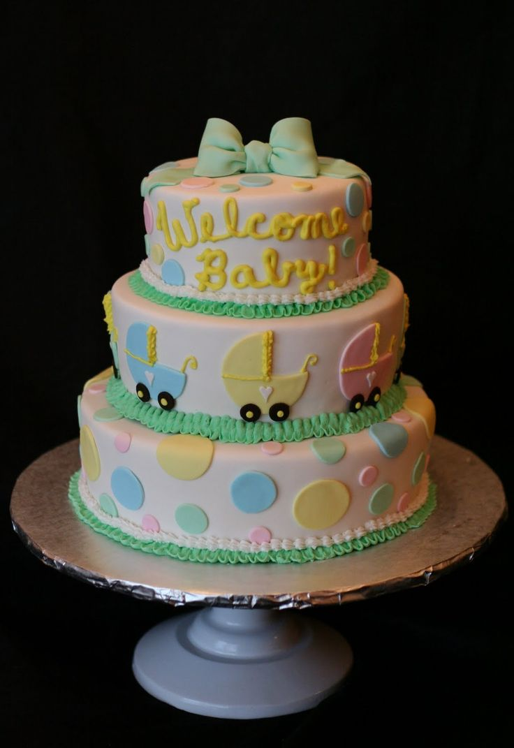 Winnie the pooh baby shower centerpiece ideas 48pc baby shower winnie - Simple Baby Shower Cakes For Boys Fondant Baby Shower Cake With Baby Carriages And Polka