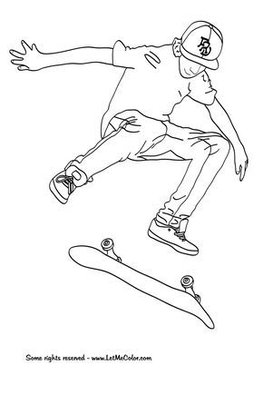 Download Skateboarding Coloring Pages Free Printables