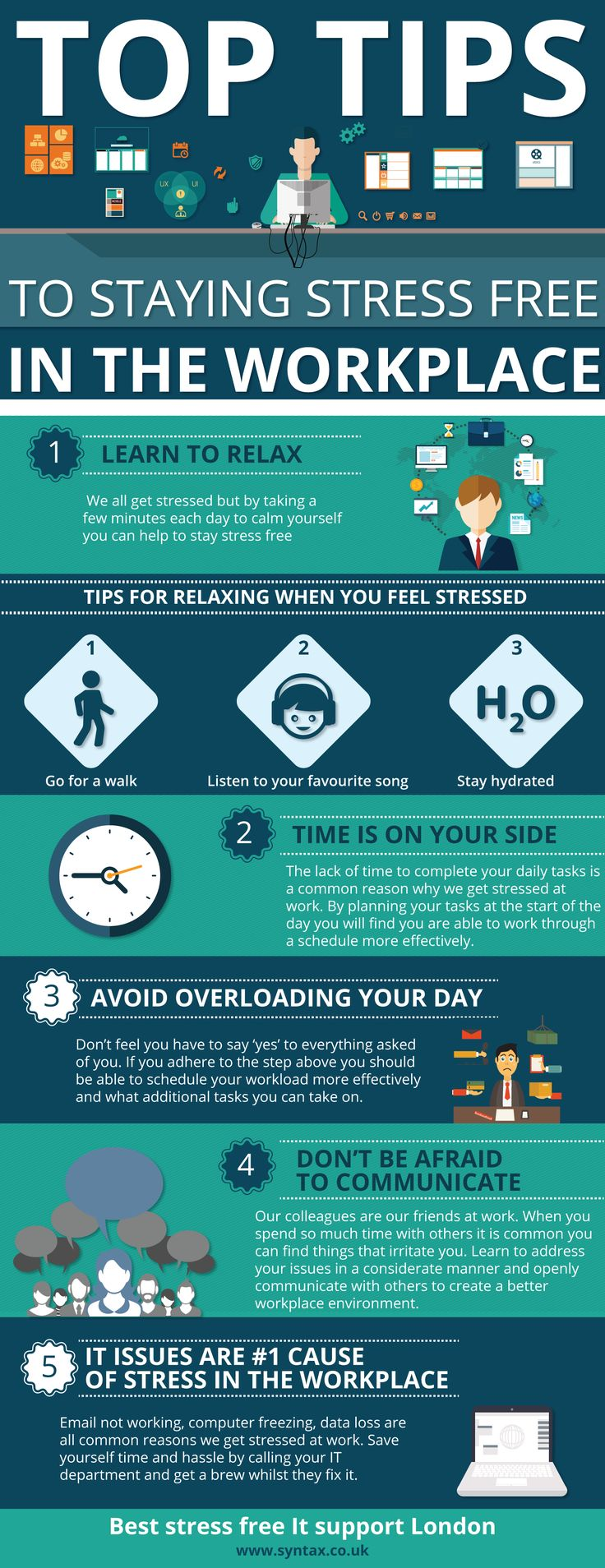 Top Tips To Staying Stress Free In The Workplace Infographic - http://elearninginfographics.com/top-tips-staying-stress-free-workplace-infographic/