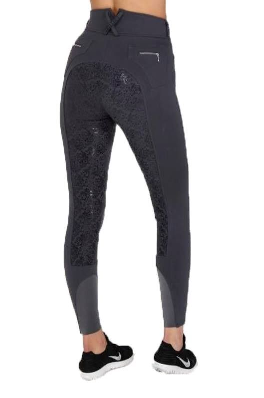 Chillout Horsewear Silicone Seat Breeches in Dark Grey | High waist, silicone seat breeches in grey by Chillout Horsewear! Gorgeous breeches, lycra ankle and extremely comfy! Great quality and so stylish! | Lofthouse Equestrian