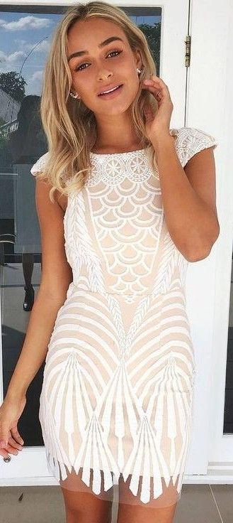 Cream + White Lace Dress                                                                             Source