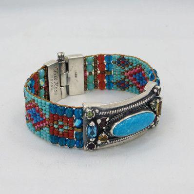 Chili Rose Czech Beaded Bracelet With Turquoise Semi