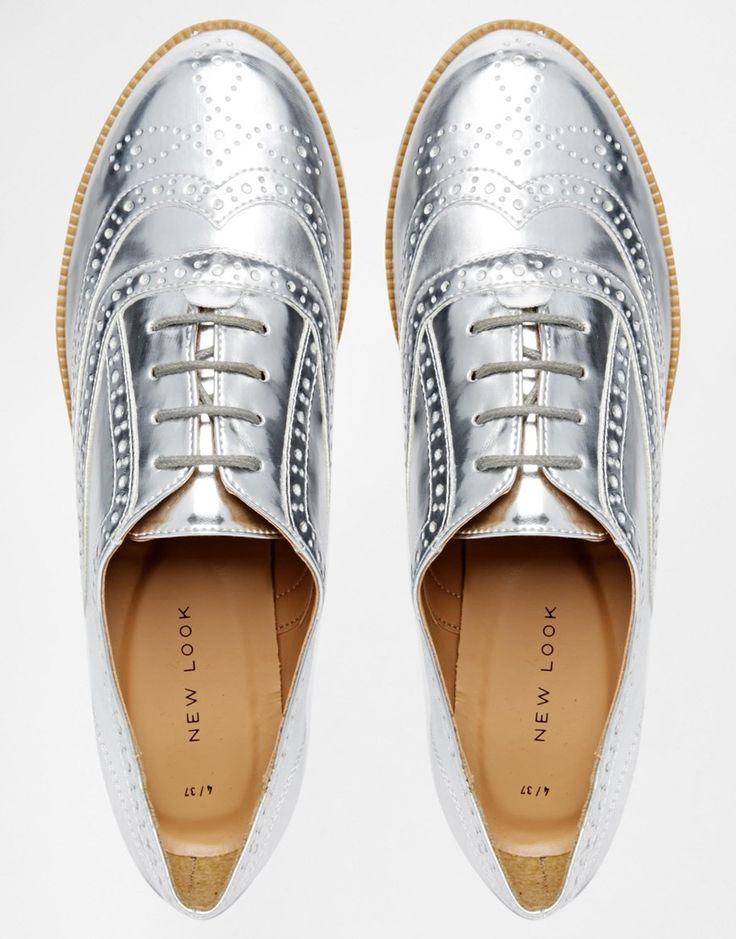 Image 3 ofNew Look Komedian Silver Brogue Flat Shoes