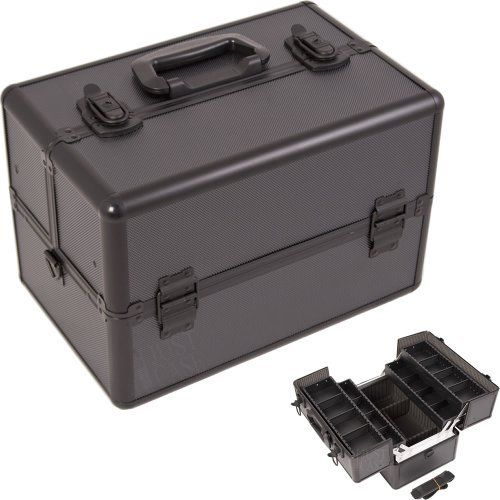 ALL BLACK DOT PATTERN 2-TIERS EXTENDABLE TRAYS PROFESSIONAL COSMETIC MAKEUP CASE WITH DIVIDERS - M4001 by JUSTCASE. $55.98