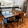love that light fixture: Farmhouse Fever, Industrial Kitchens, Industrial Table, Kitchens Islands, Design Sponge, Farmhouse Kitchens, Bar Stools, Industrial Stool, Vintage Stool