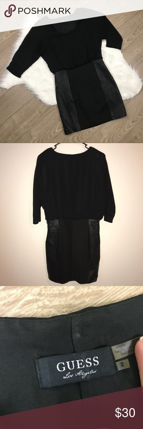 GUESS Black Mesh Half Sleeve Dress GUESS Black Mesh Half Sleeve Dress   • Size 2 • In excellent condition; no stains, holes, or flaws.  • Faux Leather Side Panels  • Save 10% on bundles of 2 or more items Guess Dresses Mini