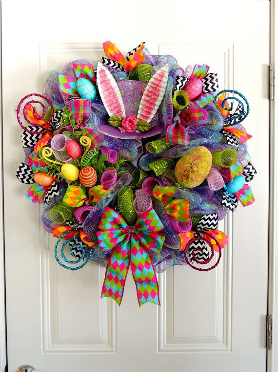 Last One Purple Mad Hatter Wreath Deco Mesh Easter Wreath