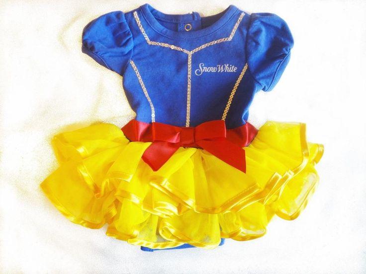 New Disney Baby Snow White Bodysuit Costume Dress 6 Months Girls Blue Gold Tulle #DisneyBaby #DressyHoliday