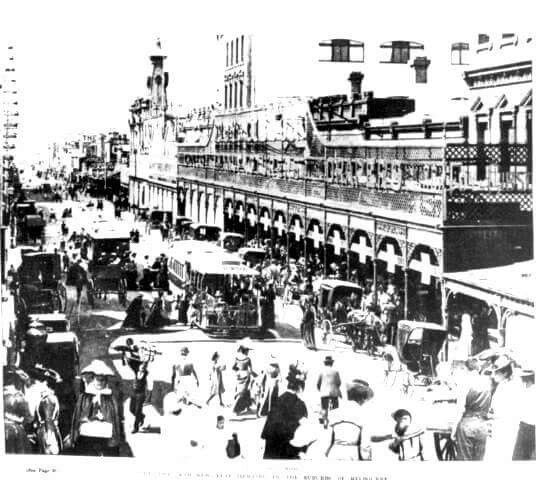1903 Christmas and New Year shopping in Smith Street Fitzroy-Collingwood. Melbourne Australia