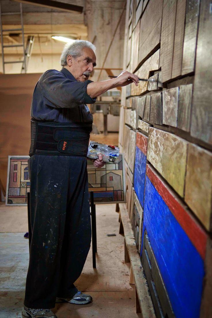 """Walter Deliotti (Uruguay) En 2013 ejecutó un mural en el Hall del Banco Central del Uruguay """"Construcción portuaria"""""""