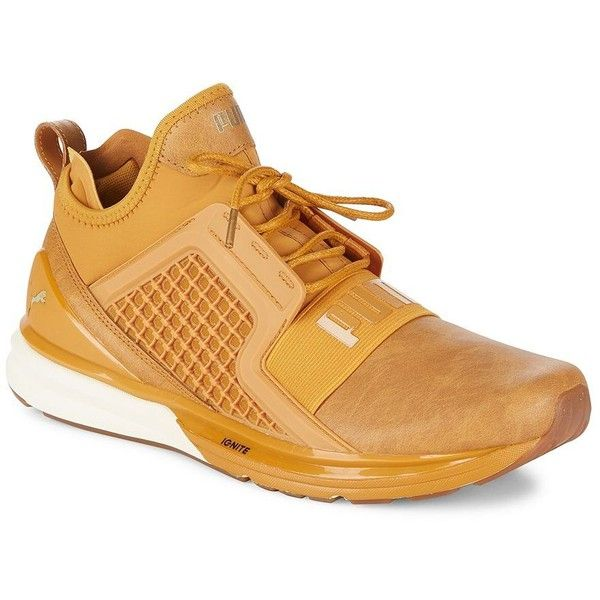 Puma Men's Ignite Sneakers ($120) ❤ liked on Polyvore featuring men's fashion, men's shoes, men's sneakers, beige, mens fur lined shoes, mens shoes, beige mens dress shoes, puma mens shoes and mens round toe shoes