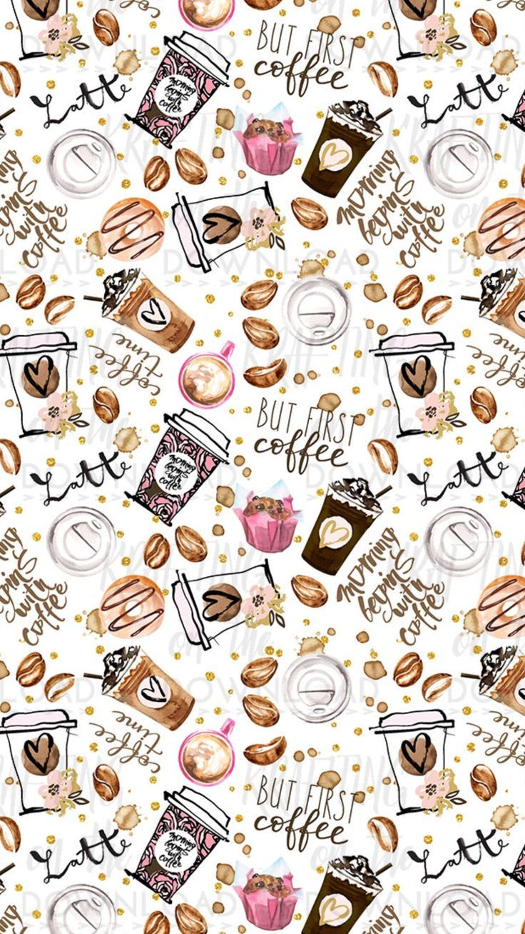 Free Watercolor Clip Art Daisies Coffee Wallpaper Cute Wallpapers Fall Wallpaper Cute aesthetic wallpapers coffee