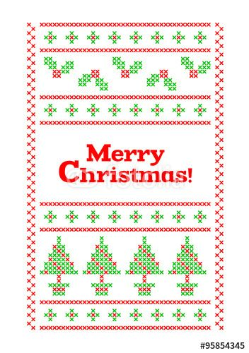 Vettoriale: Cross Stitch Christmas Greeting Card