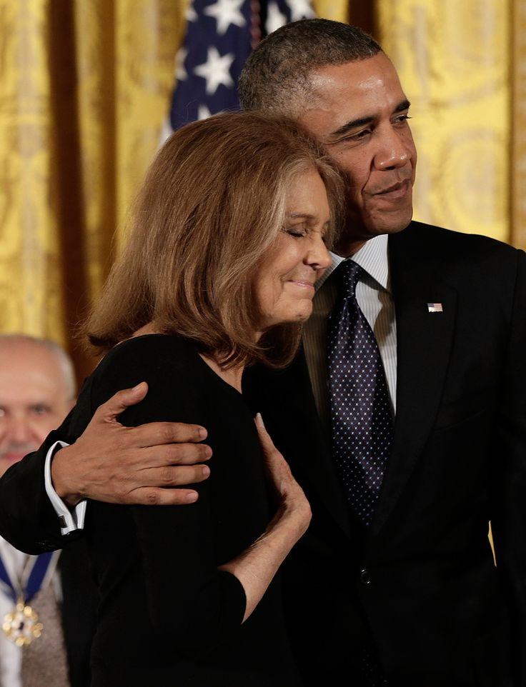 Barack hugged Gloria Steinem at the November 2013 Presidential Medal of Freedom event.