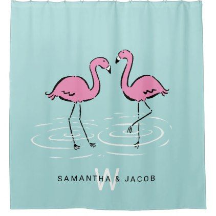 Pink Flamingo Monogram Shower Curtain - monogram gifts unique design style monogrammed diy cyo customize