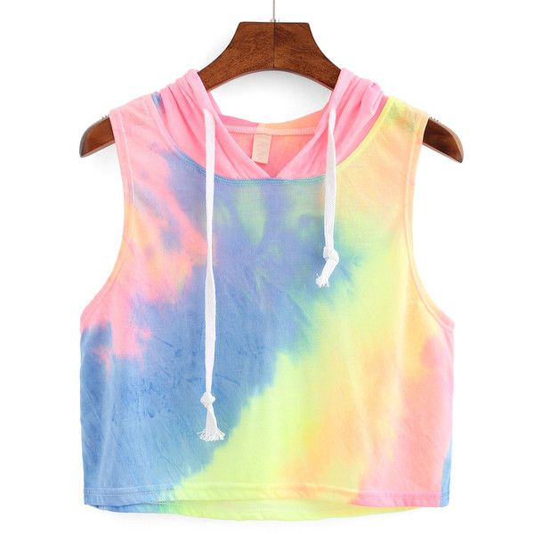 Rainbow Ombre Hooded Crop Top (41 BRL) ❤ liked on Polyvore featuring tops, tanks, crop tops, shirts, pink, cropped tank tops, crop top, crop tank and cut-out crop tops