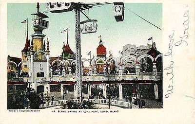 Coney Island New York NY 1906 Flying Swing Luna Park Antique Vintage Postcard