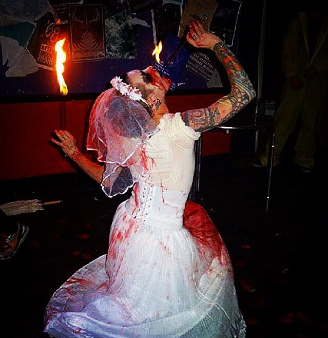 #flameboyantentertainment #bloodbride #skewered #blood #performance #performer #halloween #event #hauntedhouse #theme #trash #makeup #gay #instagay #gaystagram #instaqueer #queer #freakshow #entertainer #entertainment #sanctuary #basingstoke #halloweenhoney #bodyart #bodymods #ink #tattoos #piercings #gayswithtattoos #bride #fire #flames #fireeater #fireeating